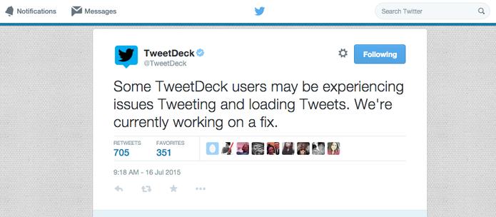TweetDeck enfrenta problemas para carregar novos tuítes e enviar mensagens (Foto: Reprodução/TweetDeck)