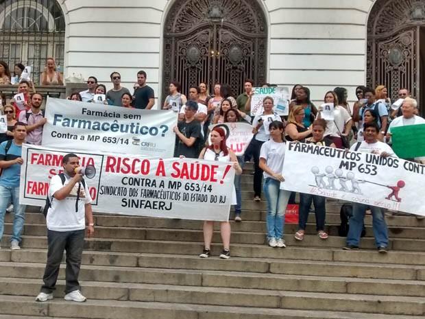 Manifestantes protestam contra MP 653/2014 (Foto: CRF-RJ/ Divulgação)