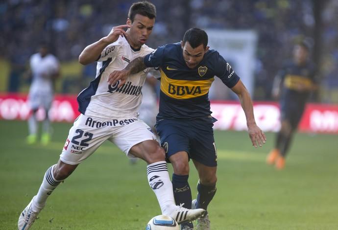 Tevez Boca Juniors x Quilmes (Foto: AP)