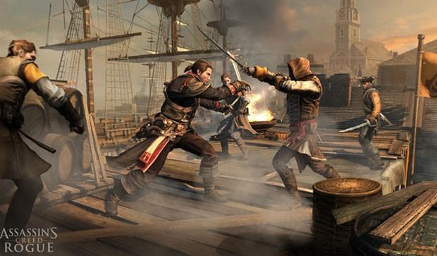 Batalha em barco em cena de 'Assassin's Creed: Rogue' (Foto: Divulgação/Ubisoft)