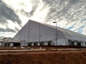Estrutura foi montada dentro do campus da universidade em São Carlos (Foto: Fabio Rodrigues/G1)