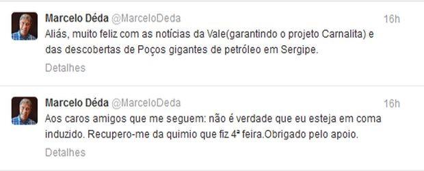 Marcelo Déda utilizou rede social para comemorar conquistas e desmentir boatos (Foto: Reprodução/Twitter)