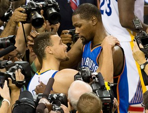 Kevin Durant e Steph Curry Oklahoma City Thunder e Golden State Warriors (Foto: Reuters)