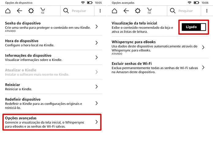 Desligue a visualização da tela inicial do Kindle para remover sugestões (Foto: Reprodução/Elson de Souza)