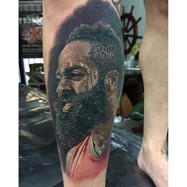 F de james harden tatua retrato realista do astro da nba for James harden tattoo