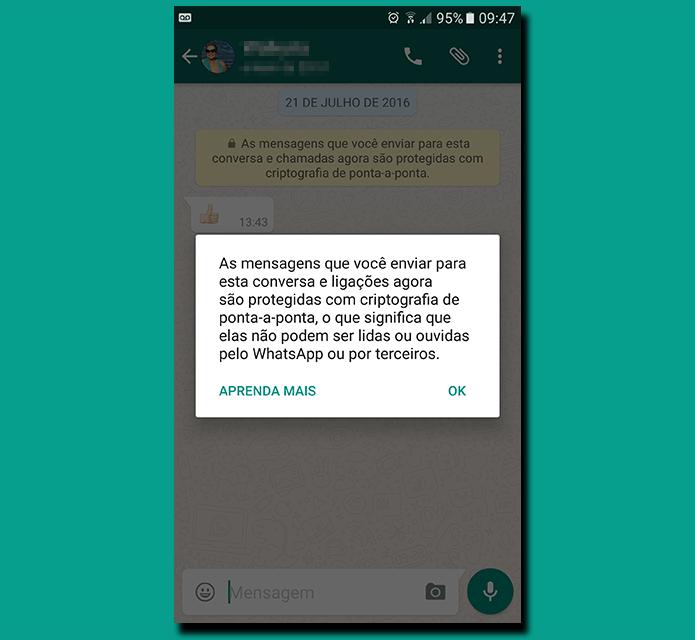 WhatsApp usa criptografia do tipo assimétrica (Foto: Reprodução/Filipe Garrett) (Foto: WhatsApp usa criptografia do tipo assimétrica (Foto: Reprodução/Filipe Garrett))