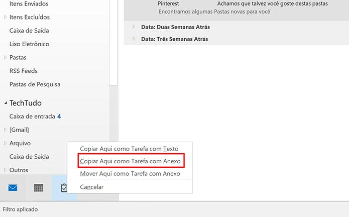 Escolha a opção de criar tarefas com anexo para criar lembretes de e-mails IMAP (Foto: Reprodução/Elson de Souza)