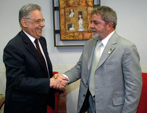 Os ex-presidentes Luiz Inacio Lula da Silva e Fernando Henrique Cardoso (Foto:  Evaristo SA/AFP)