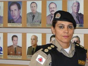 Coronel Cláudia Romualdo é a primeira mulher a assumir o Comando de Policiamento da Capital (Foto: Raquel Freitas/G1)