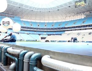 arena do grêmio arena grêmio blue man group palco (Foto: Fernando Lopes/Globoesporte.com)