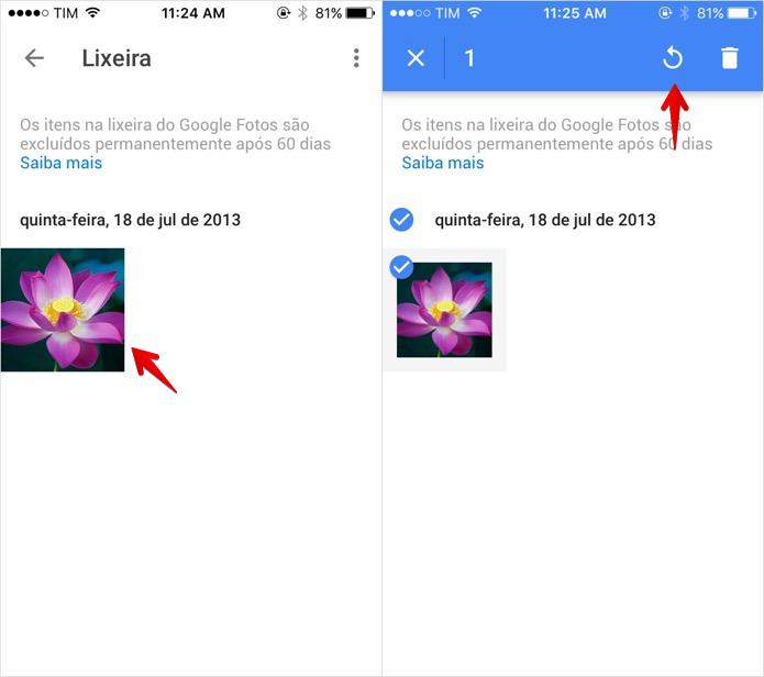 Recuperando imagens apagadas no Google Fotos (Foto: Reprodução/Helito Bijora)