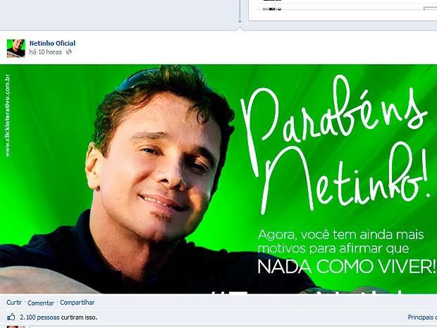 Com saúde estável, Netinho completa 47 anos em hospital de São Paulo (Foto: Reprodução/ Facebook)