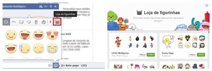 No chat da rede social é possível baixar novos stikers (Foto: Reprodução/Lívia Dâmaso)
