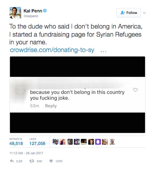 Kal Penn anuncia a criação do fundo para ajudar imigrantes (Foto: Twitter)