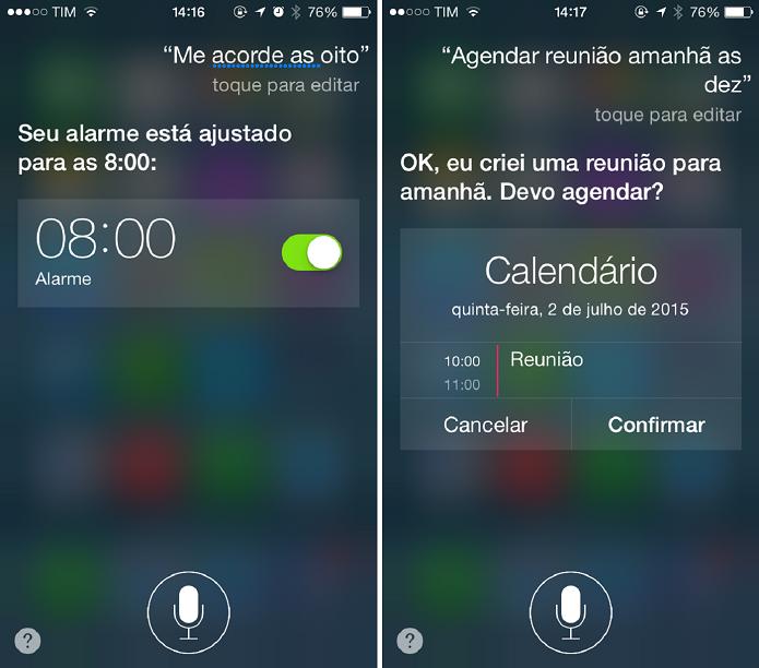 É possível ainda agendar compromissos e configurar alarmes (Foto: Felipe Alencar/TechTudo)