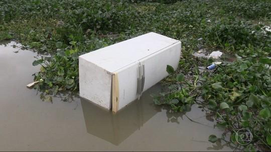 Ecobarreira se rompe e seis geladeiras são vistas boiando em lagoa