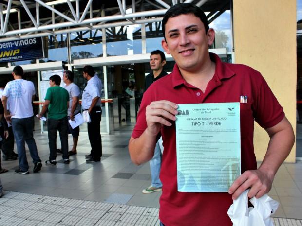 Jadilson da Costa, de 33 anos, fez a prova em 4h e 30 minutos (Foto: Tiago Melo/G1 AM)