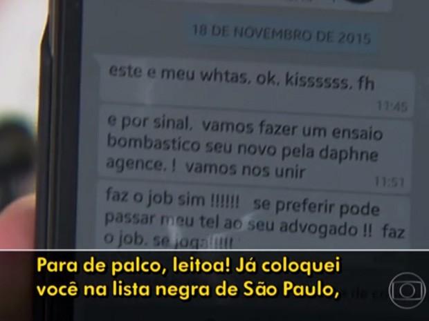 Modelo 'plus size' é ofendida após recusar proposta de trabalho em SP (Foto: Reprodução/TV Globo)