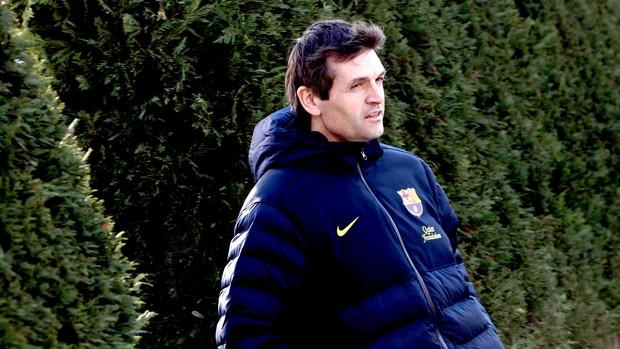 Tito Vilanova na coletiva do Barcelona (Foto: EFE)