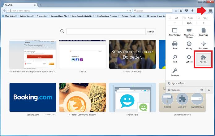 Acesse a opção Add-ons no Firefox (Foto: Felipe Alencar/TechTudo)