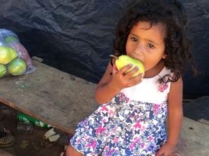Foram doadas frutas, verduras e carnes para 400 crianças, em Palmas (Foto: Neyla Rodrigues/Arquivo Pessoal)