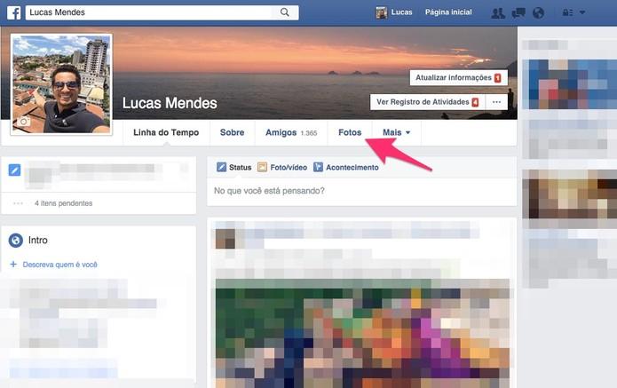 Abra a página das suas fotos no Facebook (Foto: Reprodução/Lucas Mendes)