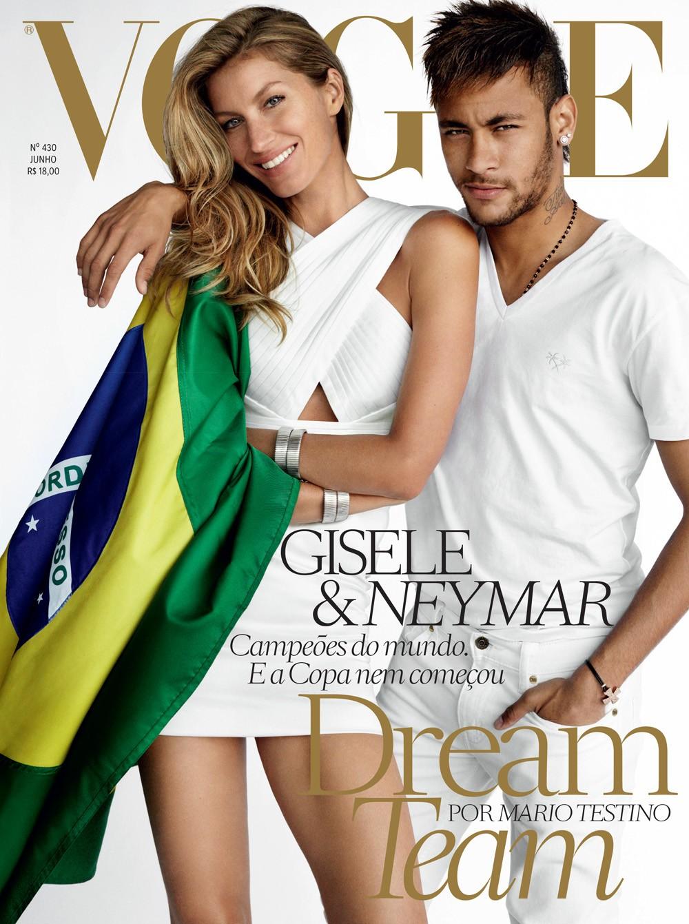 Gisele Bündchen e Neymar na edição de junho da Vogue Brasil (Foto: Mario Testino )