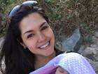 Thais Fersoza posa com a filha, Melinda: 'Nossa misturinha'
