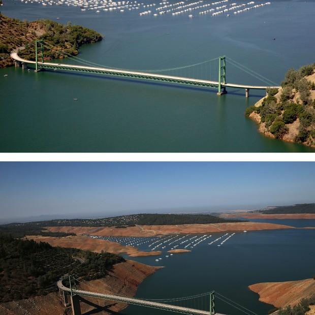 Comparação mostra Green Bridge, sobre o lago Oroville, em julho de 2011 e agosto deste ano (Foto: Getty Images)