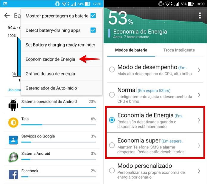 Ativando o modo de economia de bateria (Foto: Reprodução/Helito Bijora)