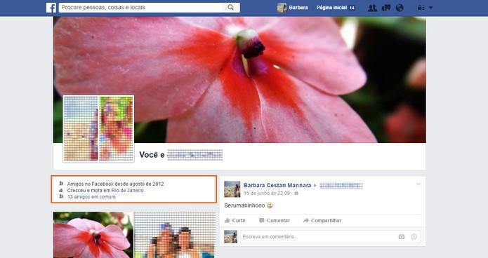 Confira o perfil duplo com todas as interações entre você e seu amigo no Facebook (Foto: Reprodução/Barbara Mannara)