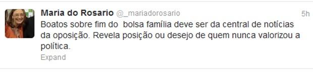 Tuíte da ministra Maria do Rosário sobre os boatos do fim do Bolsa Família (Foto: Reprodução)