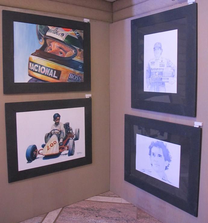 Pinturas e desenhos de Ayrton Senna (Foto: Felipe Siqueira)