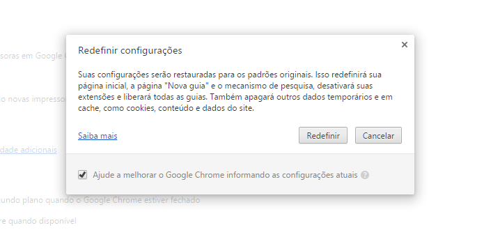 Em último caso, redefina as configurações do Chrome (Foto: Reprodução/Helito Bijora)
