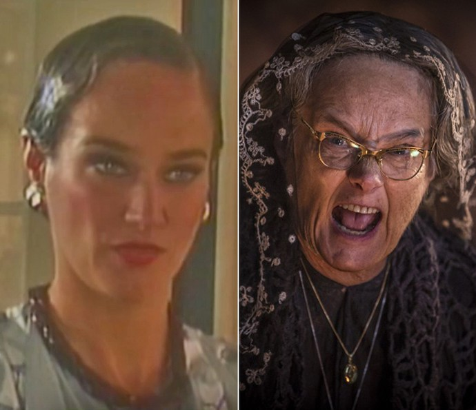 Antes e depois! À esquerda, Selma Egrei em 1986, em 'Memórias de um Gigolô', e, à direita, como Encarnação de 'Velho Chico' (Foto: Vídeo Show / TV Globo / Inácio Moraes / Gshow)