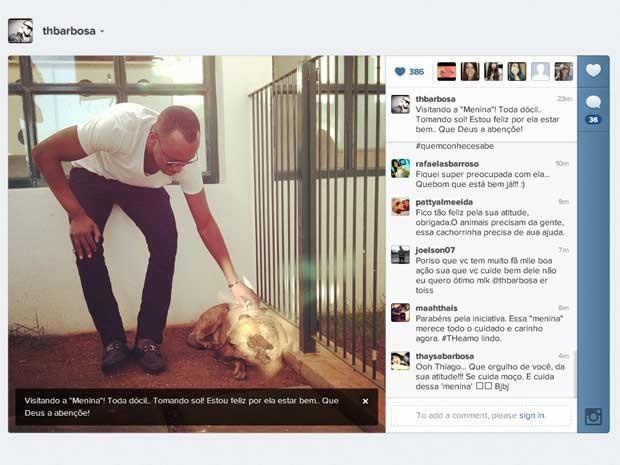 O cantor Thiaguinho visita nesta quarta-feira (4) cadela ferida em Campinas, SP (Foto: Reprodução Twitter / Thiaguinho (www.twitter.com/thiaguinhocomth) )
