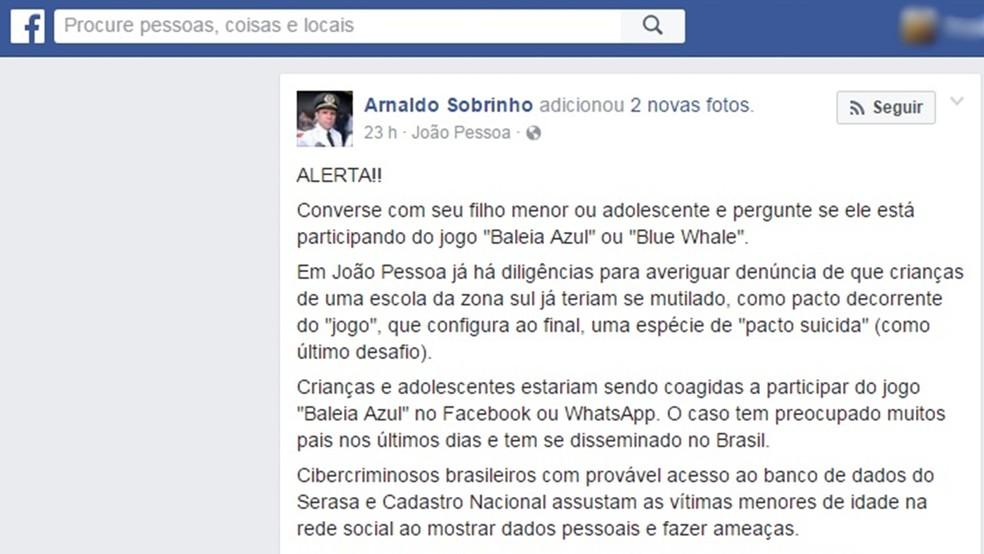 Comandante do Ciop da PMPB alerta pais de estudantes de João Pessoa sobre 'jogo da Baleia Azul', que supostamente incentiva o suicídio (Foto: Reprodução/Facebook/arnaldosobrinho10)