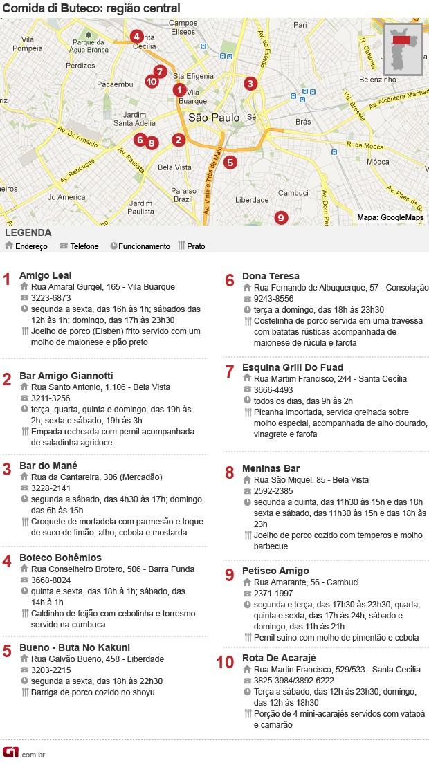 mapa Centro buteco (Foto: g1)