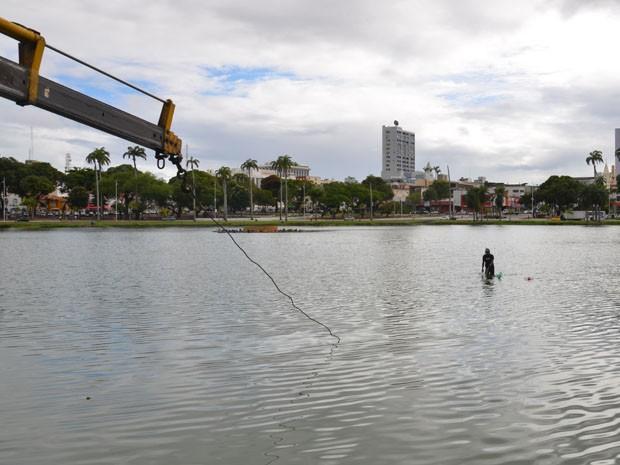 Para retirar o carro, um mergulhador entrou na lagoa para ajudar na ação (Foto: Walter Paparazzo/G1)