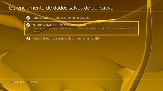 Dados salvos na nuvem do PS4 (Foto: Reprodução/Felipe Vinha)