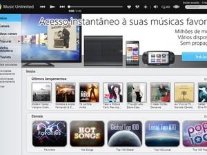 Site do Music Unlimited, que já funciona no Brasil (Foto: Reprodução/Music Unlimited)
