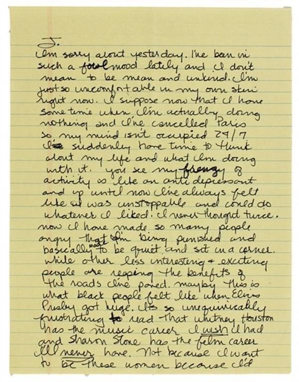 A primeira página da carta de Madonna com críticas a Sharon Stone (Foto: Reprodução)