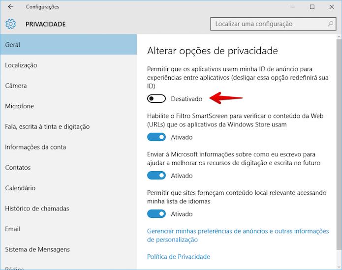 Desativando anúncios personalizados no Windows 10 (Foto: Reprodução/Helito Bijora)