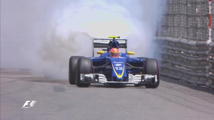 Motor de Felipe Nasr estourou nos primeiros minutos de treino em Mônaco (Foto: Reprodução)