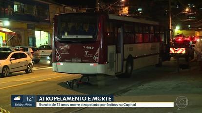 Garoto de 12 anos morre atropelado por ônibus na capital