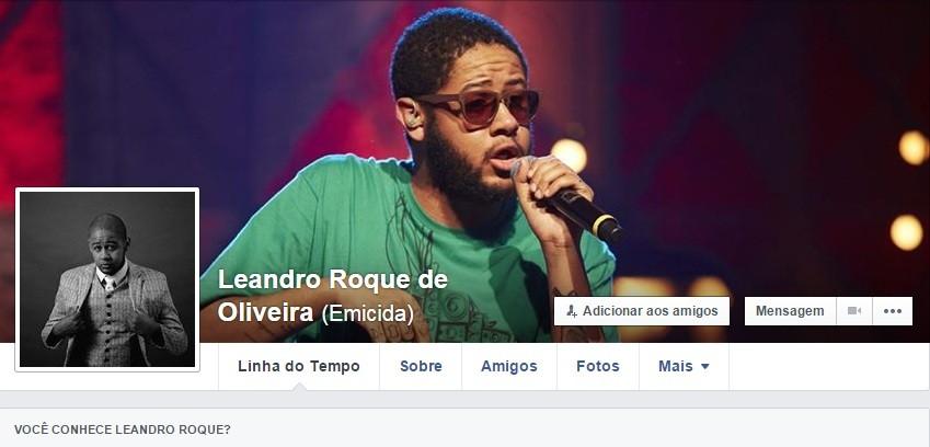 Página pessoal do Emicida. Você conhece Leandro Roque? (Foto: reprodução/Facebook)