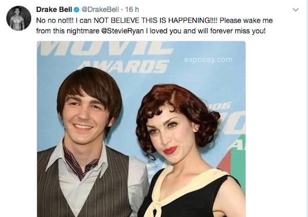 A mensagem compartilhada pelo ator Drake Bell falando sobre o suicídio de sua namorada, a youtuber e comediante Stevie Ryan (Foto: Twitter)