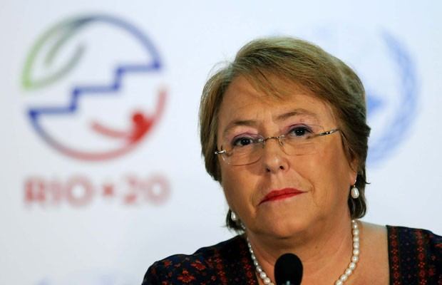 A direitora da ONU Mulheres  e ex-presidente chinela, Michelle Bachelet em entrevista coletiva no Riocentro, nesta segunda (18) (Foto: Alexandre Dur&#227;o/G1)