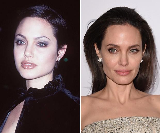 Antes e depois: Angelina Jolie (Foto: Getty Images)