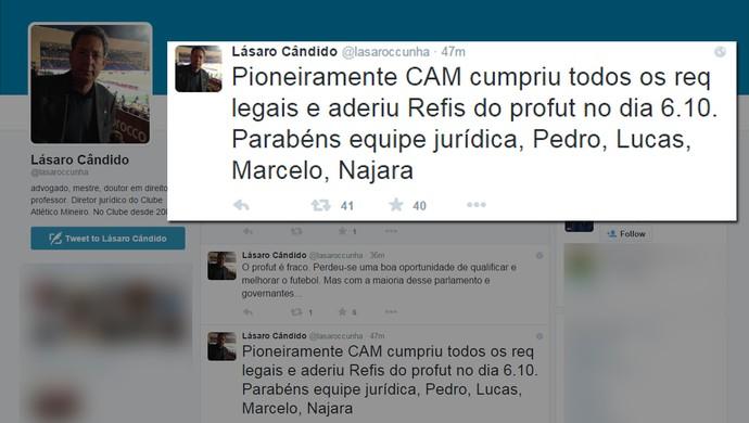 Diretor jurídico do Atlético-MG, Lásaro Cunha, confirma que Atlético-MG aderiu ao Refis (Foto: Reprodução / Twitter)